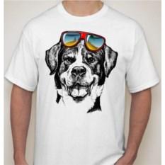 Мужская футболка Собака с очками на голове