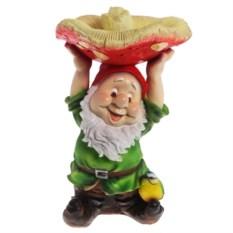 Декоративная садовая фигура Гном с грибом на голове