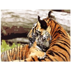 Картины по номерам «Тигрица с тигренком»