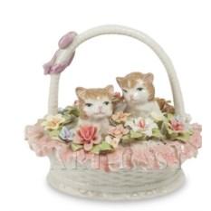 Фарфоровая фигурка Котята в цветочной корзине Pavone