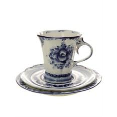 3-х предметный чайный комплект с росписью Гжель. Катерина