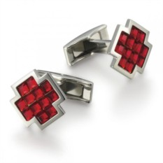 Красные запонки в форме креста Swarovski