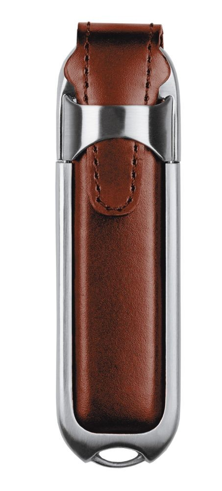Флешка Leather, коричневая, 16 Гб
