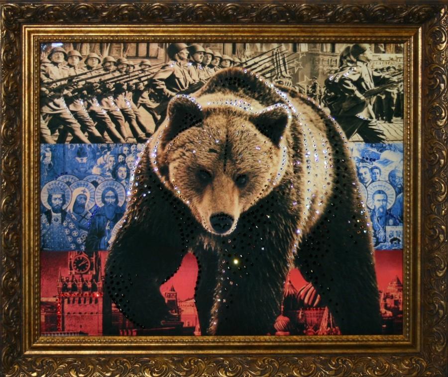 Картина с кристаллами Сваровски Медведь-символ России