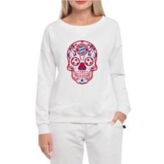 Белый женский свитшот Bayern Мексиканский череп