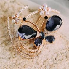 Брошь «Бабочка с цветами» с синими цирконами и кристаллами