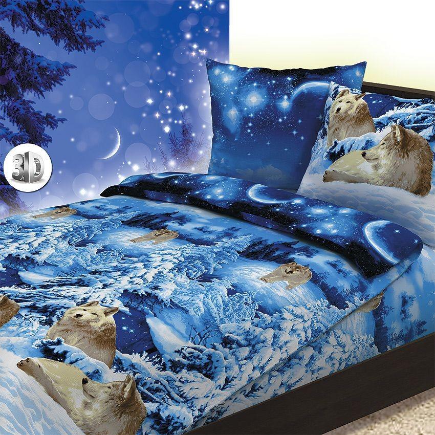 Комплект постельного белья Волки 3D (2-спальный)
