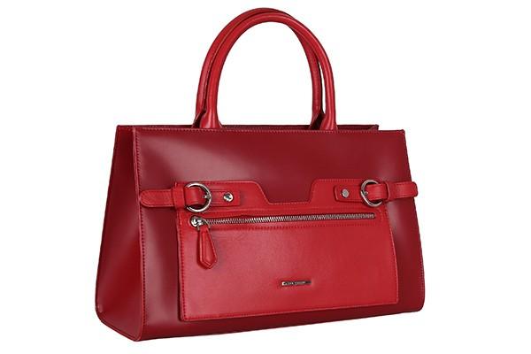 Красная кожаная женская сумка Leo Ventoni