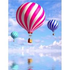 КОжаная обложка на паспорт Три воздушных шара
