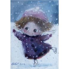 Открытка с конвертом Зима. Ангел на коньках