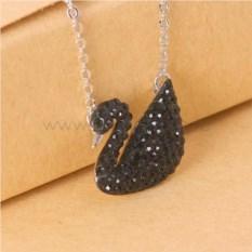 Кулон «Черный лебедь» с кристаллами Swarovski