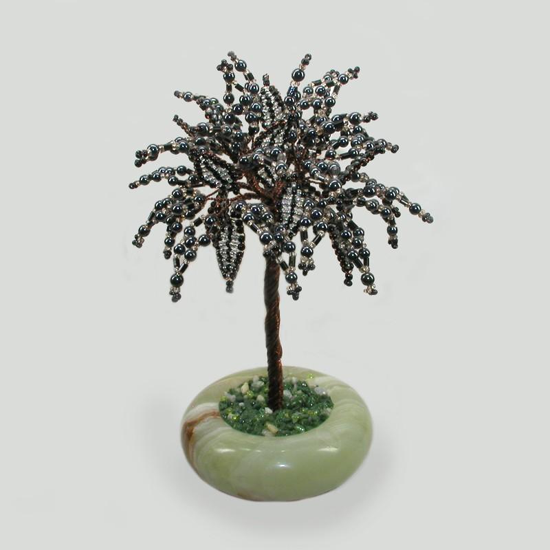 Дерево из гематита Осирис в вазочке из оникса