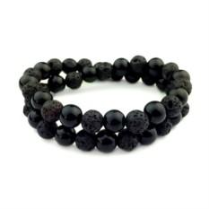 Черный браслет из необработанного камня