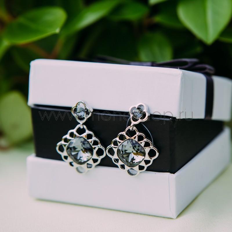 Серьги с кристаллами Сваровски «Черный тюльпан»