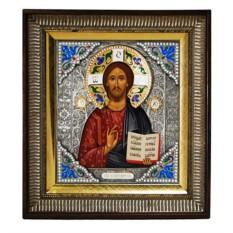 Икона Господь Вседержитель (скань с эмалями)