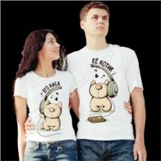 Парные футболки для двоих Его киса, ее котик в наушниках
