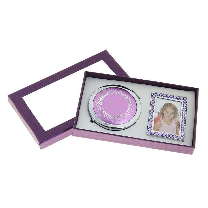 Сиреневый подарочный набор Зеркало и фоторамка