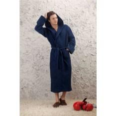 Мужской махровый халат Спорт (цвет: синий)