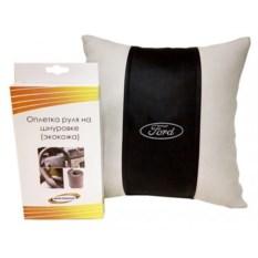 Подарочный набор из подушки и оплетка руля из экокожи Ford