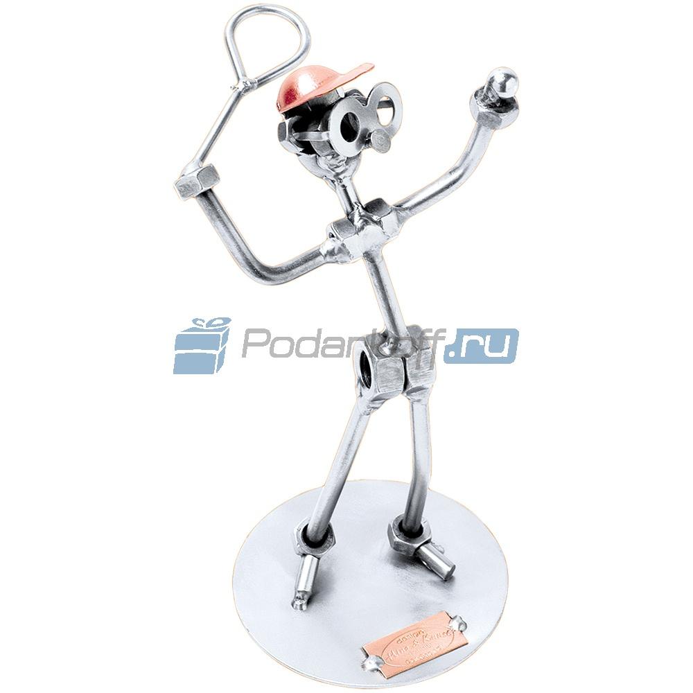 Статуэтка из металла Теннисист — подача