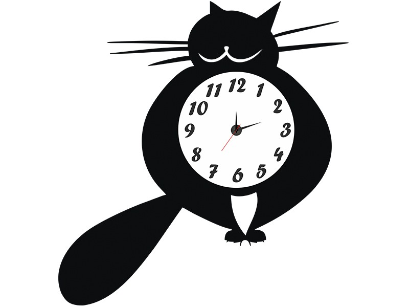 Интерьерные часы Кот
