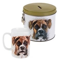 Кружка в коробке-копилке Акварельный пес
