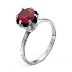 Серебряное кольцо с красным корундом