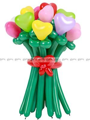 Разноцветные сердечки средний букет из шаров - 15 штук
