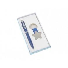 Канцелярский набор: синие шариковая ручка и брелок «Звезда»