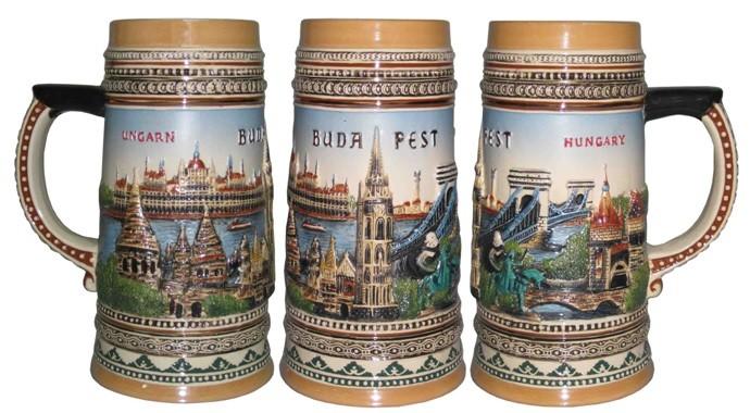 Пивная кружка коллекционная Будапешт, 19см, 750мл