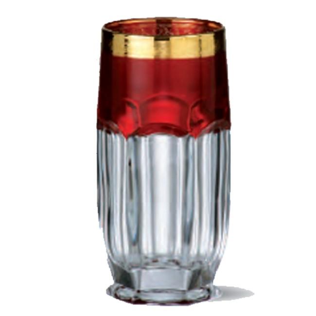 Набор 6 стаканов для воды 300 мл Crystalite Bohemia Сафари, рубин/золото