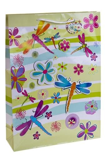 Пакет подарочный Стрекозы и цветы