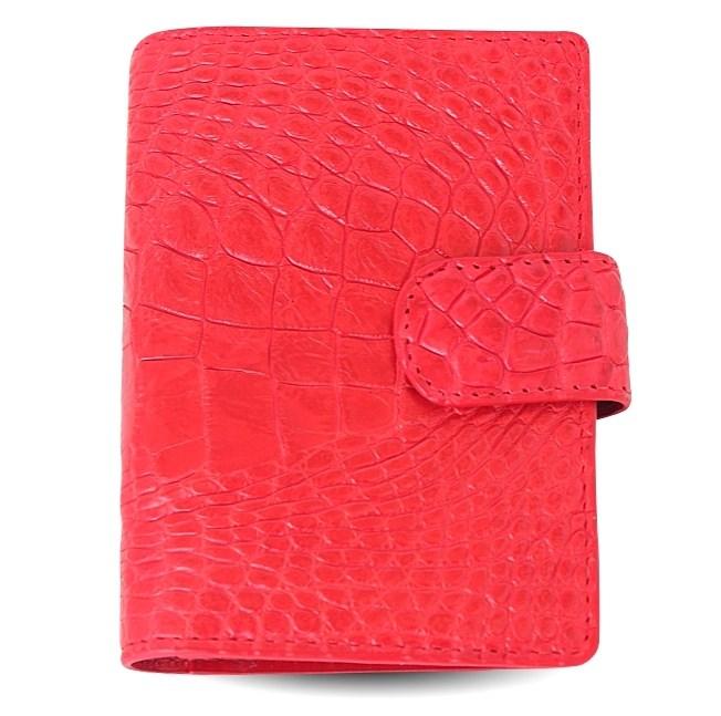 Красная визитница из натуральной кожи крокодила