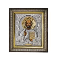 Икона Николай Чудотворец (в киоте, с золотым венцом)