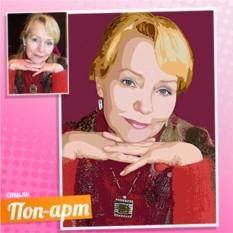 Поп-арт портрет женщины по фотографии