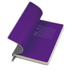 Серый бизнес-блокнот А5 Funky с фиолетовым форзацем