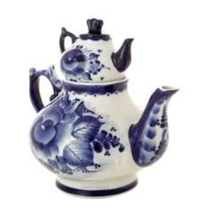 Заварочный керамический чайник-самовар с росписью Гжель