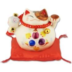 Белый японский кот-копилка Манеки-неко Большая удача!
