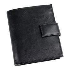 Кожаное портмоне с отделениями для кредитных карт и монет, черное