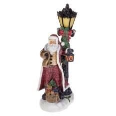 Светящееся новогоднее украшение Дед Мороз у фонаря