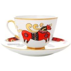 Чашка с блюдцем Красный конь (фарфор)