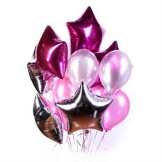 Большое облако серебряных и розовых шариков со звездами