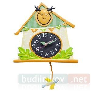 Настенные детские часы с маятником Дом