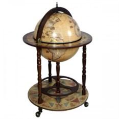 Деревянный напольный глобус-бар