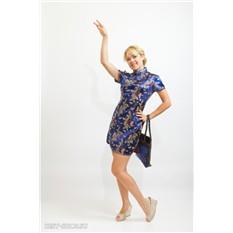 Платье ципао, темно-синее