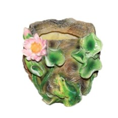 Кашпо Камень с лягушкой и лотосом