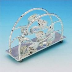 Посеребренная салфетница с прозрачными хрусталиками