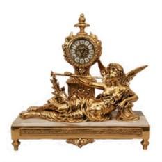 Часы из бронзы на мраморной подставке Муза