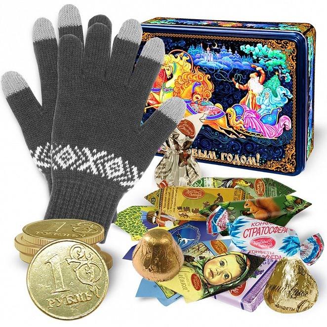 Набор Палех с серыми сенсорными перчатками