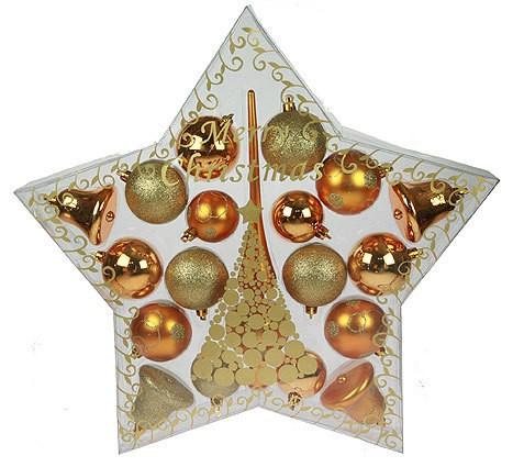 Набор ёлочных игрушек Звездный, золотой